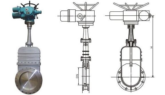 DMZ973H-10C电动加长杆暗板刀型闸阀构造图及主要外形及连接尺寸