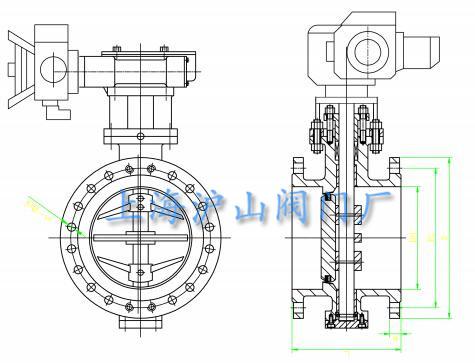 D943W-10P电动法兰硬密封蝶阀主要外形尺寸